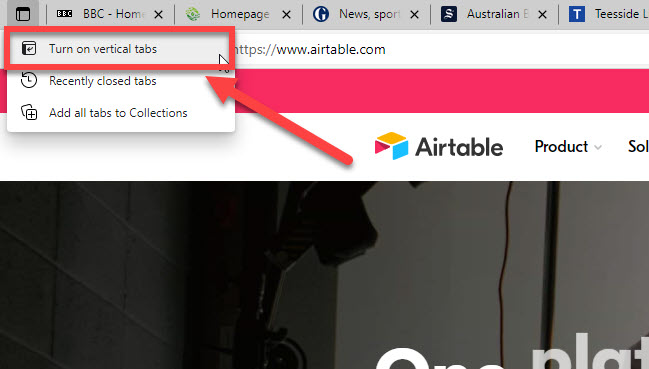Link to turn on vertical tabs in Microsoft Edge.