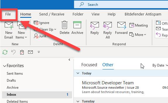The file tab in desktop Outlook.