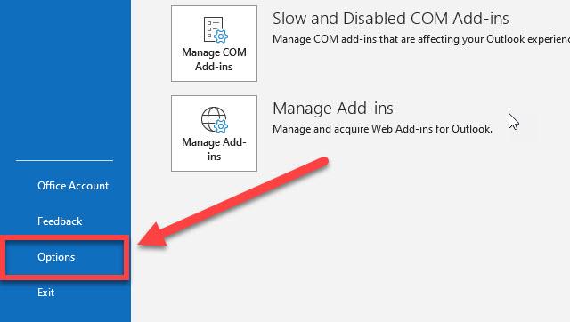 The options link in desktop Outlook.