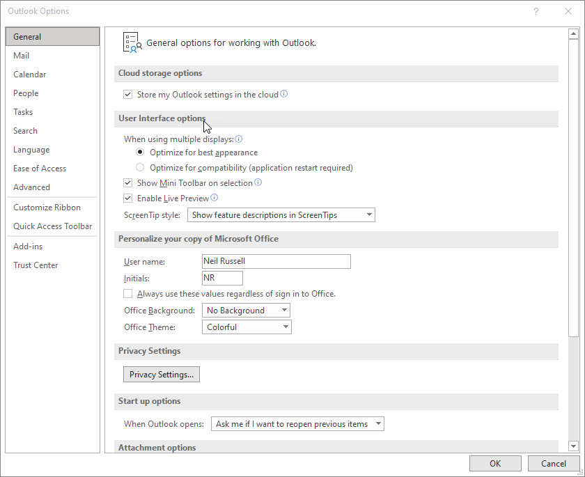 The options window in desktop Outlook.