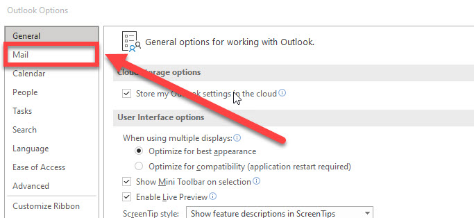 The mail link in the Outlook options window.