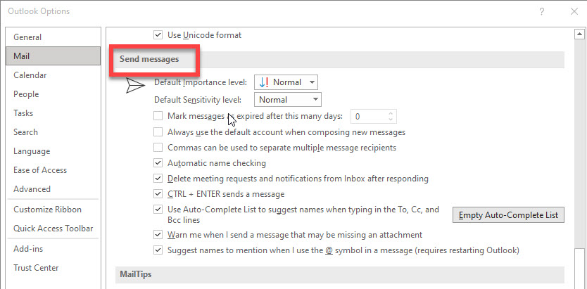 The send messages settings in desktop Outlook.